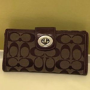 COACH deep purple 2in1 Wallet and checkbook!